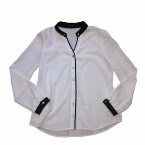 MINE Cream and Black Button Up Md